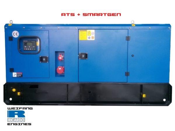 Gruppo elettrogeno diesel 75kVA (55kW) super silienziato dotato di ATS e quadro SMARTGEN